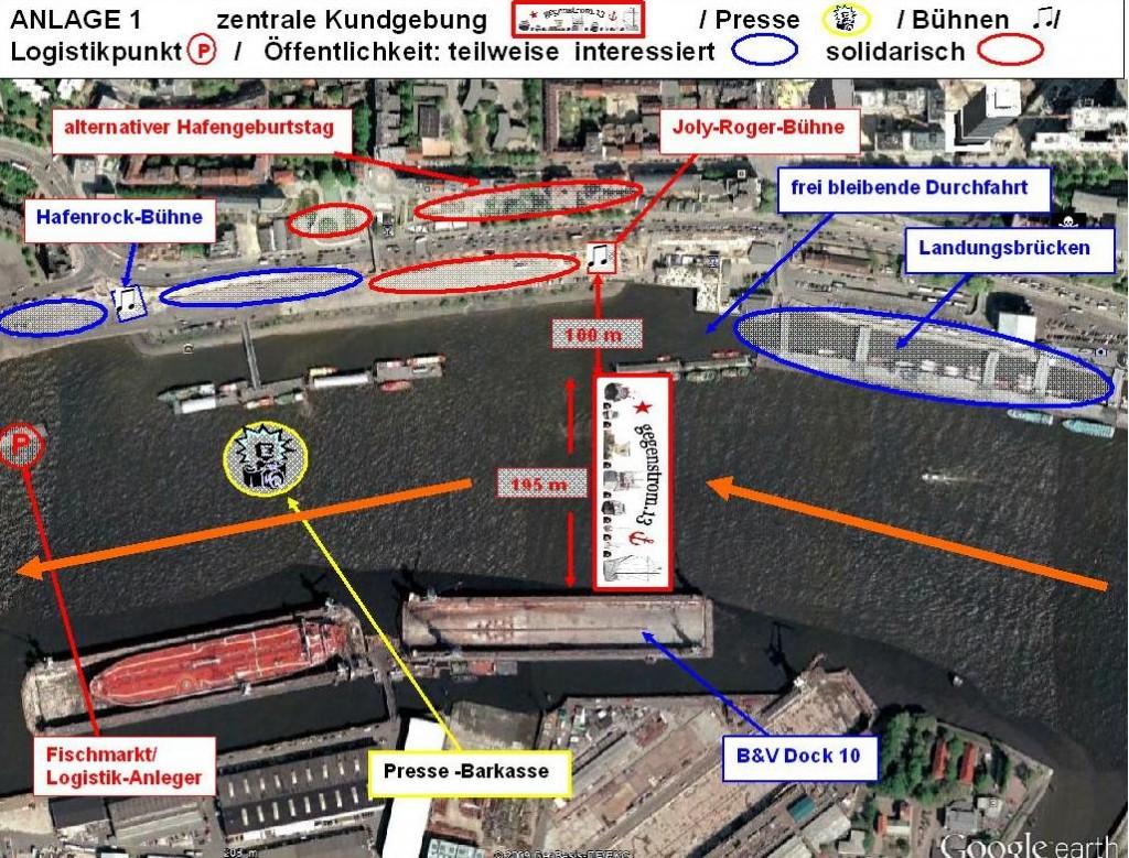 Visualisierung symbolische Blockade Hafengeburtstag