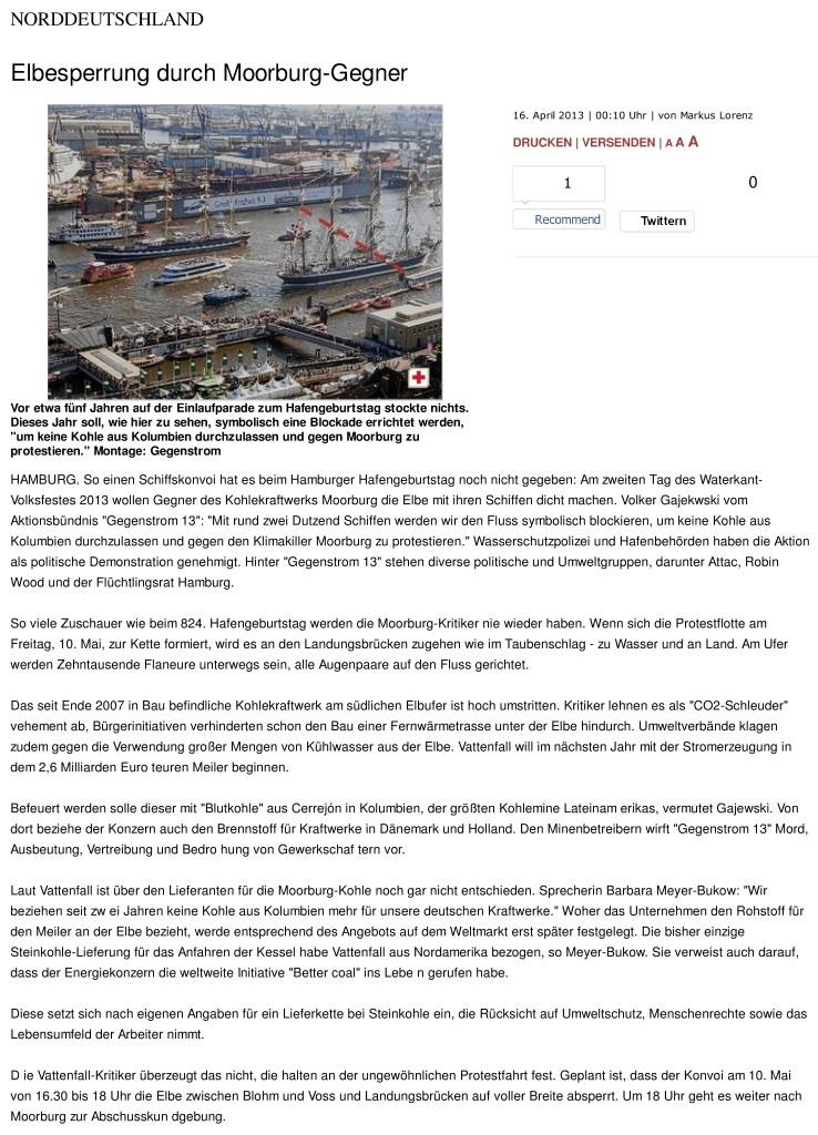 Elbesperrung durch Moorburg-Gegner - wedel-schulauer-tageblatt.de